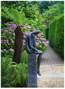Statue chat en bois khenghua - Sculpture de jardin contemporaine ...
